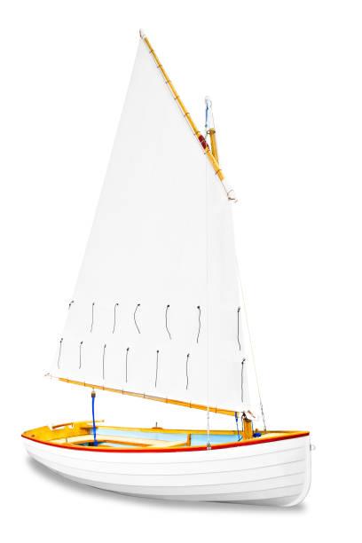 sailboat under the white background stock photo