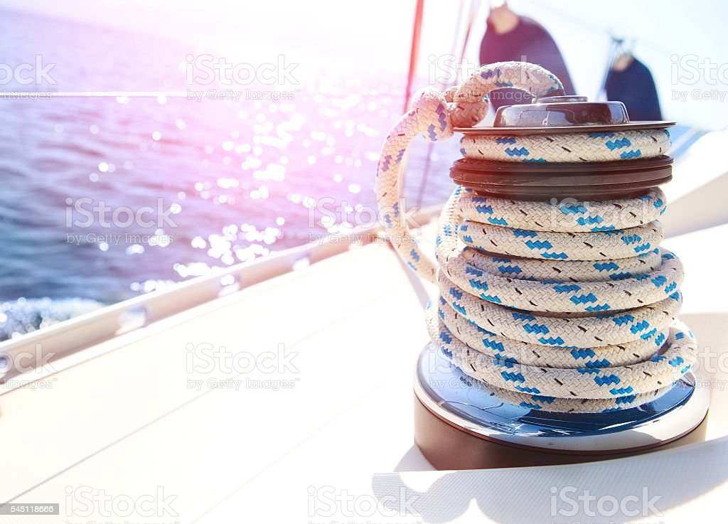 Sailboat winch and rope yacht detail stock photo