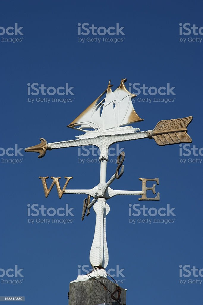 Sailboat wind vane against clear sky royalty-free stock photo
