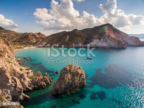 istock Sailboats anchored in bay at Milos island 862675672