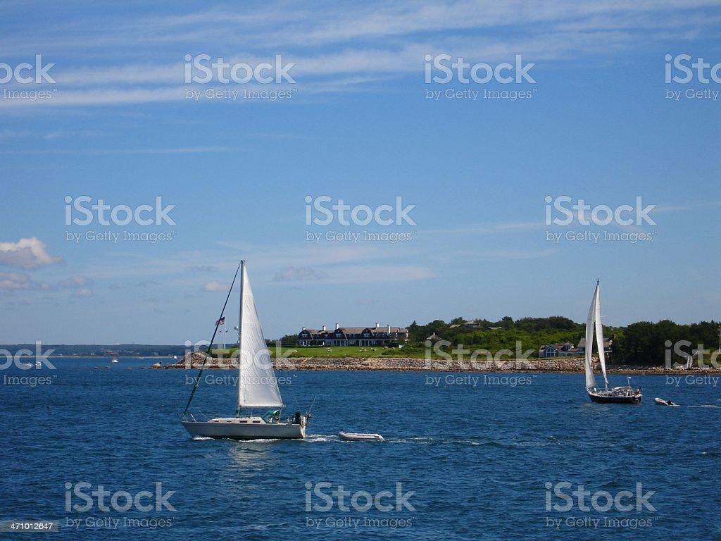 Sailboats and Coastline royalty-free stock photo