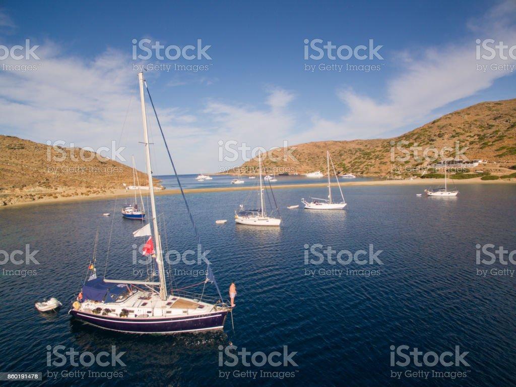 Sailboats at anchor stock photo
