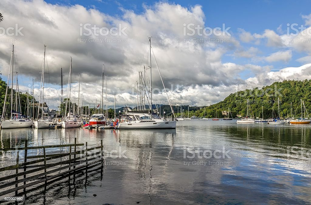 Sailboats at Bowness-on-Windermere stock photo