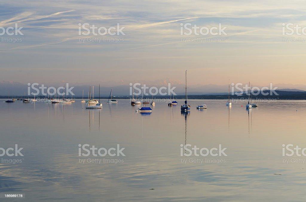 Sailboats at Lake Ammersee stock photo