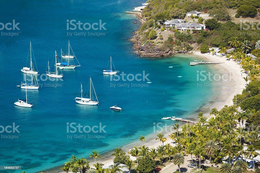 Sailboats At Little Beach In Antigua stock photo