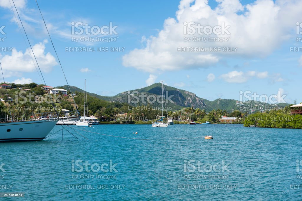 Sailboats at Nelson's Dockyard in English Harbour, Antigua stock photo