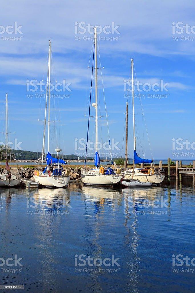 Sailboats at rest stock photo