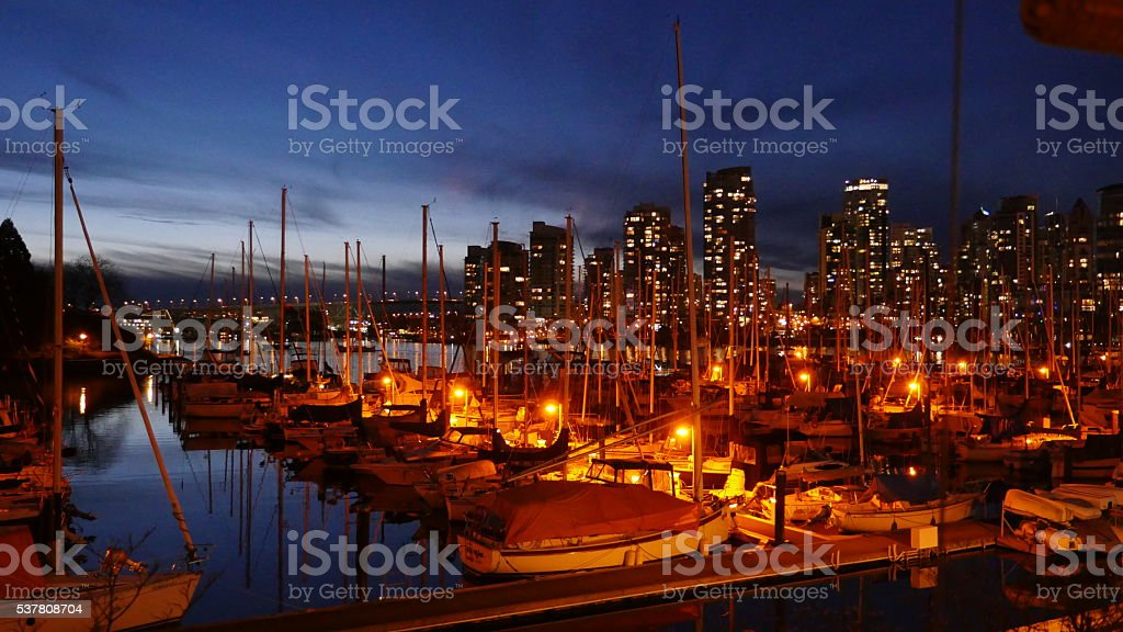 Sailboats at Stamps Landing, False Creek, Vancouer at Sunset stock photo