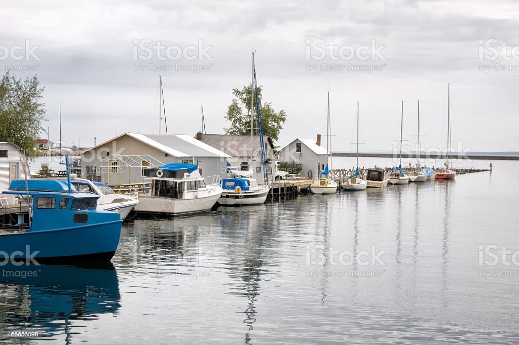 Sailboats at the Lake Superior Dock at  Marquette, Michigan stock photo