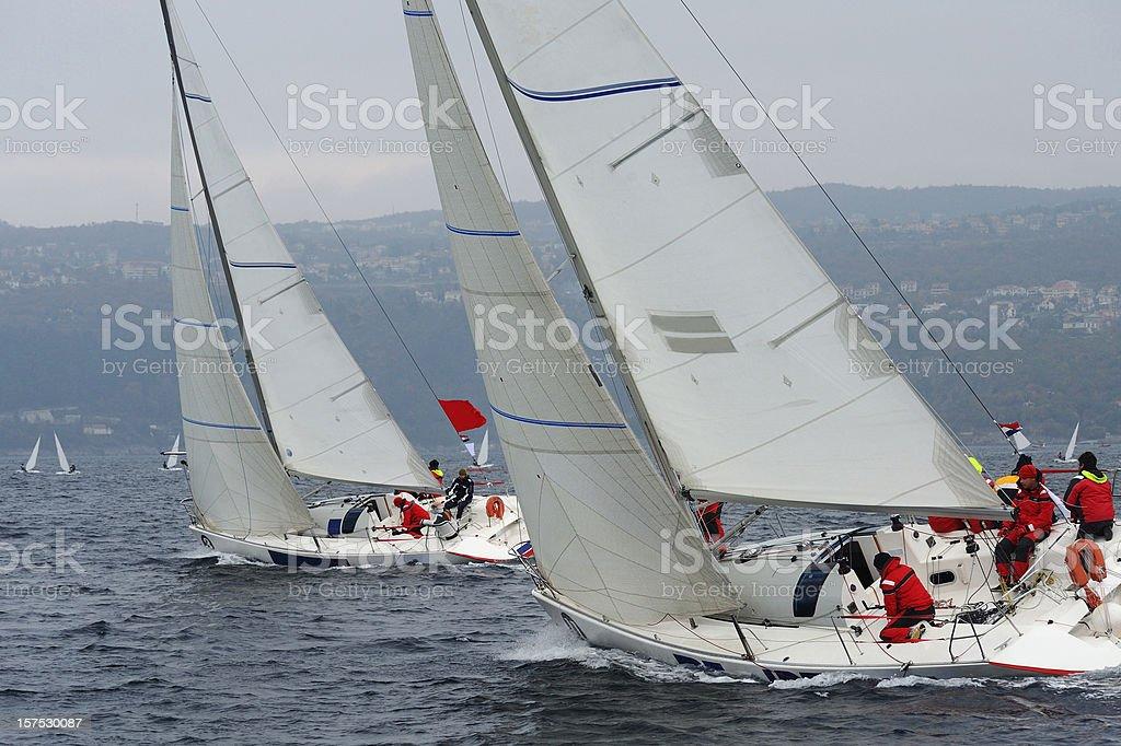 Sailboats compeeting during regatta stock photo