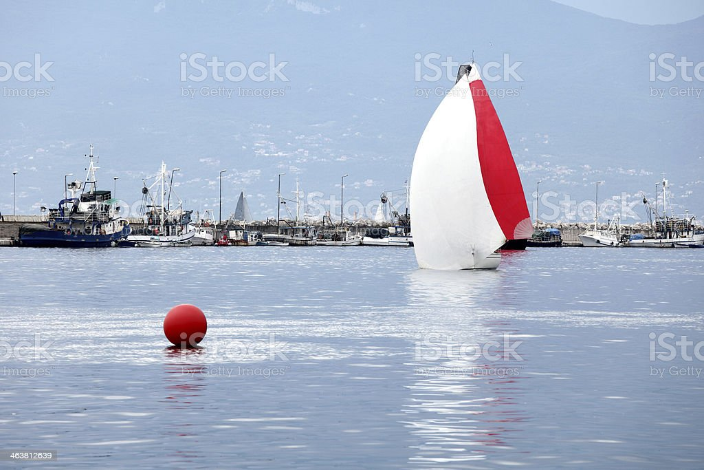 Sailboats entering the port of Rijeka royalty-free stock photo