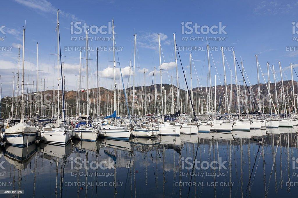 Sailboats in a Marina. stock photo