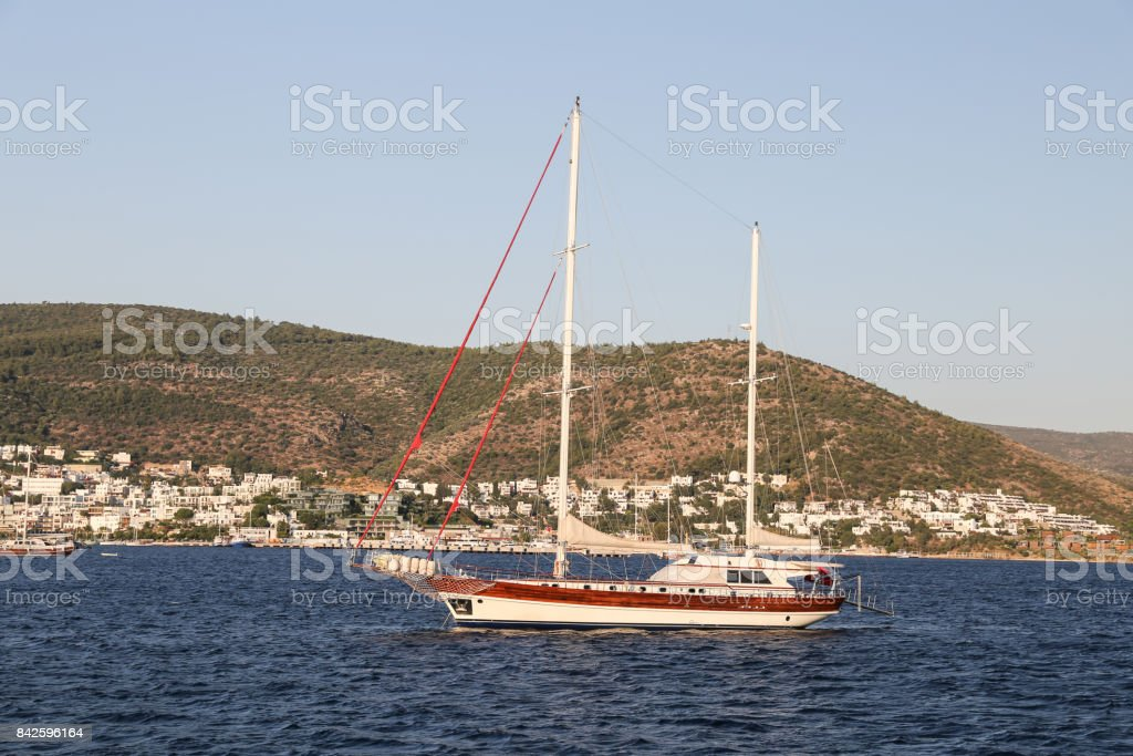 Sailboats in Bodrum Town stock photo