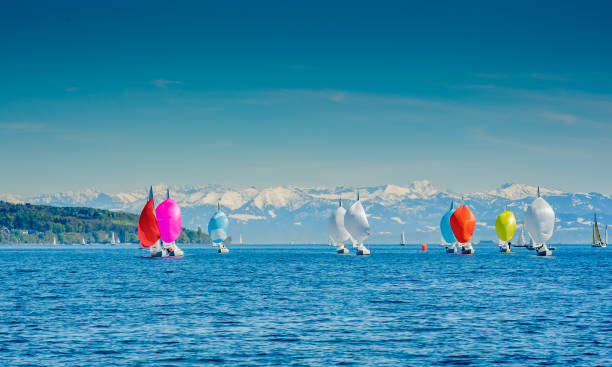 sailboats in chinook wind lake constance appears to be a mountain lake. Bodensee stock pictures, royalty-free photos & images