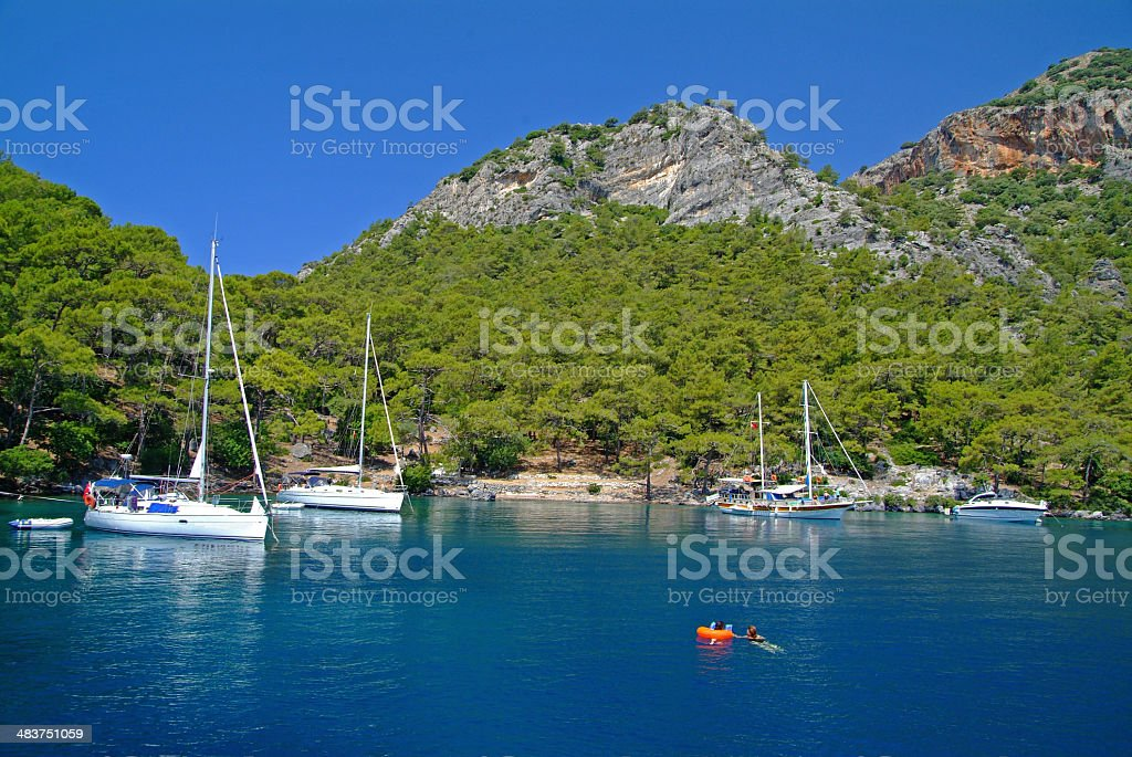 Sailboats in Gocek,TURKEY stock photo
