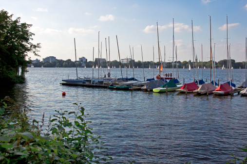 Sailboats in Hamburg lake