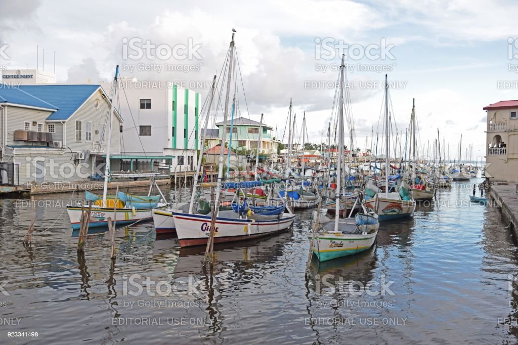 Sailboats in harbor in Belize city stock photo