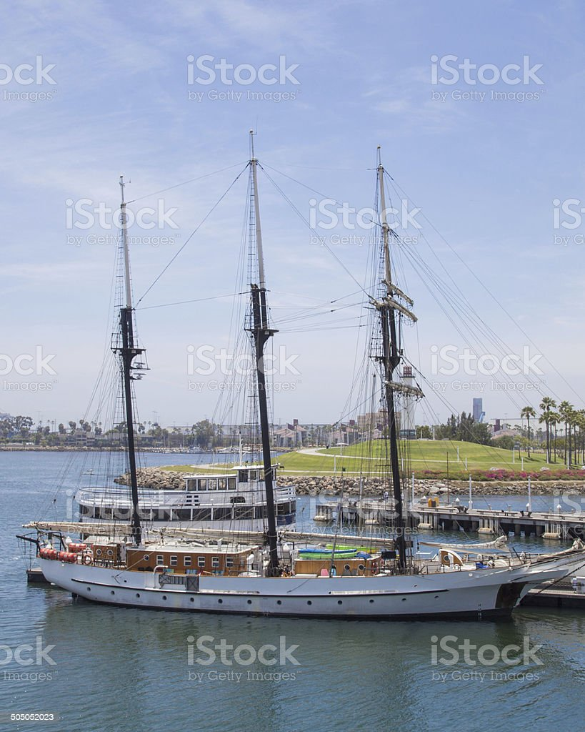 Sailboats in Long Beach Harbor stock photo