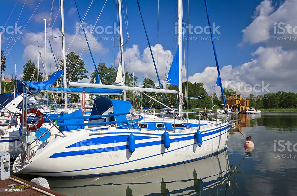 Sailboats in Marina Mikolajki, Poland royalty-free stock photo