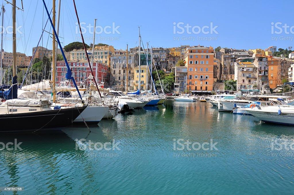 sailboats in mediterranean harbor stock photo