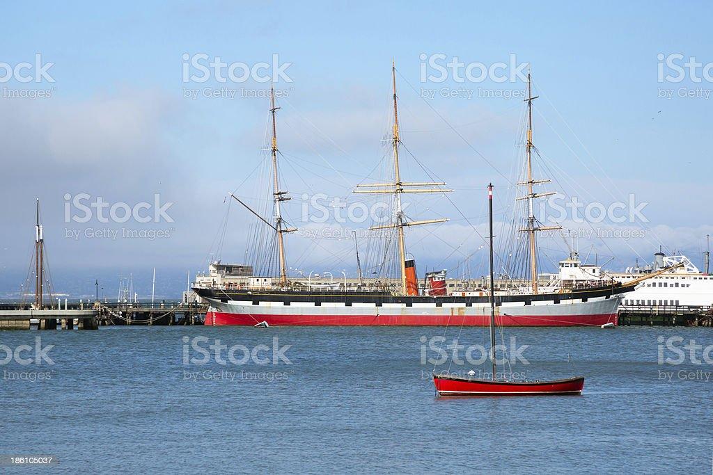 Sailboats in San Francisco harbor royalty-free stock photo