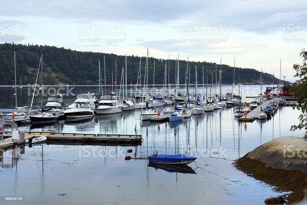 Sailboats in the harbor royalty-free stock photo