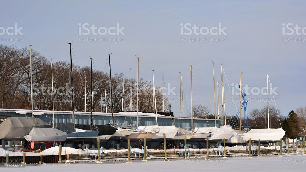 Sailboats in Winter Dry Dock stock photo