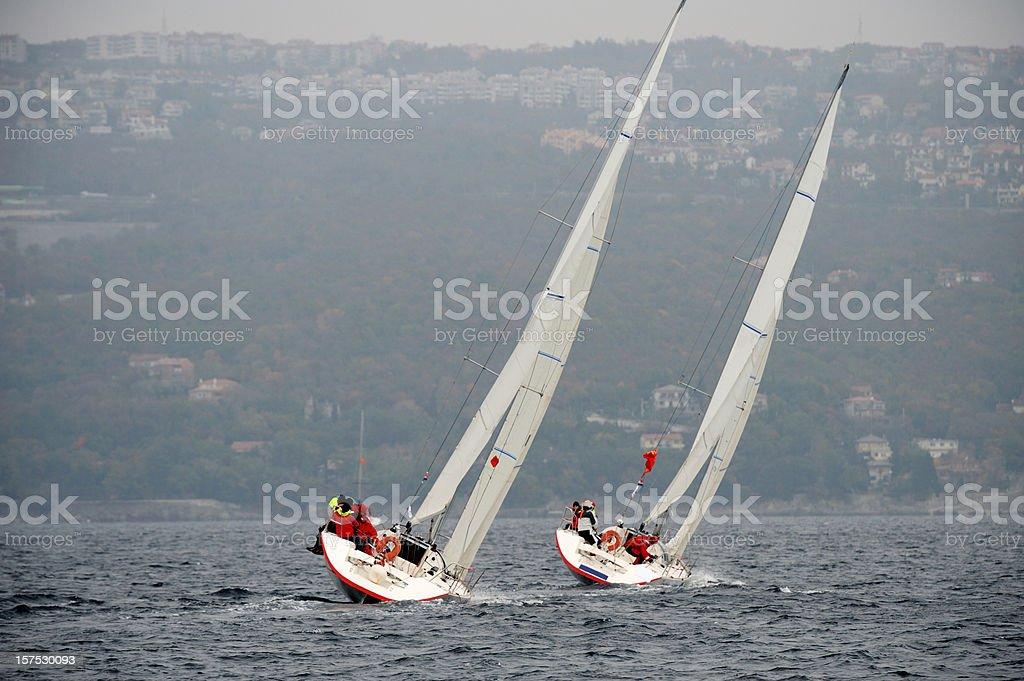 Sailboats leaning during regatta stock photo