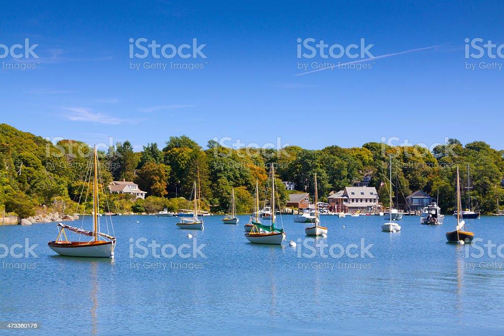 Sailboats moored at The Knob, Woods Hole, Falmouth, Cape Cod. stock photo