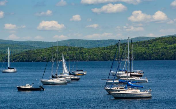 sailboats moored stock photo