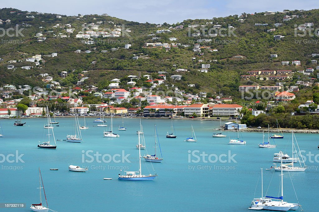 Sailboats off St. Thomas royalty-free stock photo