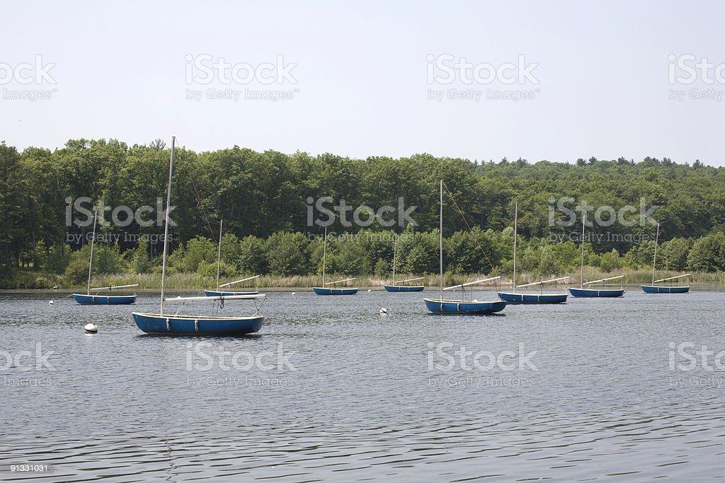 Sailboats on a Lake stock photo