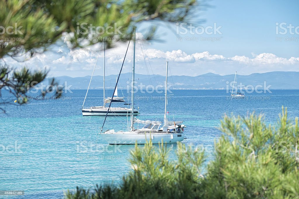 Sailboats on French Riviera stock photo