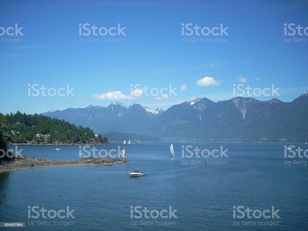 Sailboats on Howe Sound stock photo