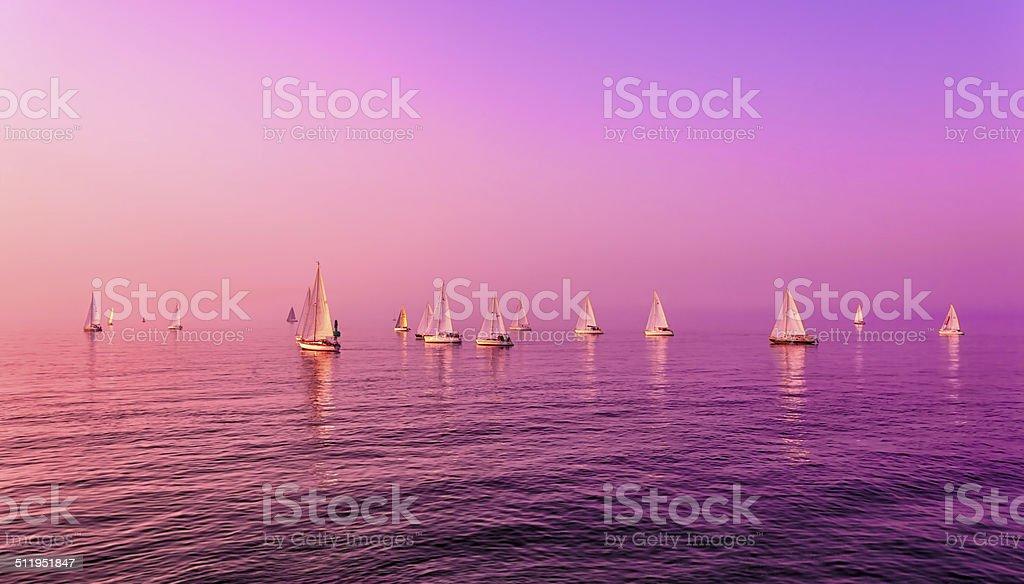 Sailboats on Sea stock photo