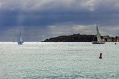 Sailboats on the Caribbean near the tropical island of St. Maarten, Netherlands Antilles.