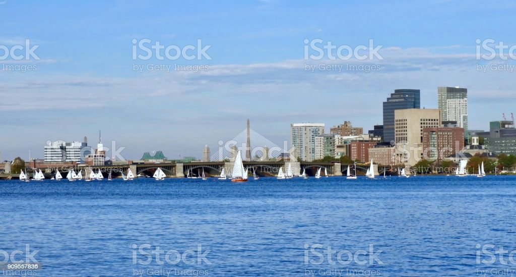 Sailboats on the Charles stock photo