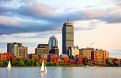 Sailing on the Charles River in Boston, Massachusetts. Boston is known for its central role in American history, world-class educational institutions, cultural facilities, and champion sports franchises