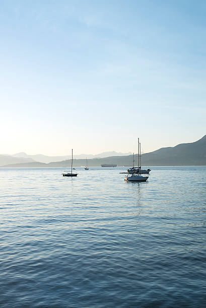 sailboats on the ocean at sunset in Vancouver, BC stock photo