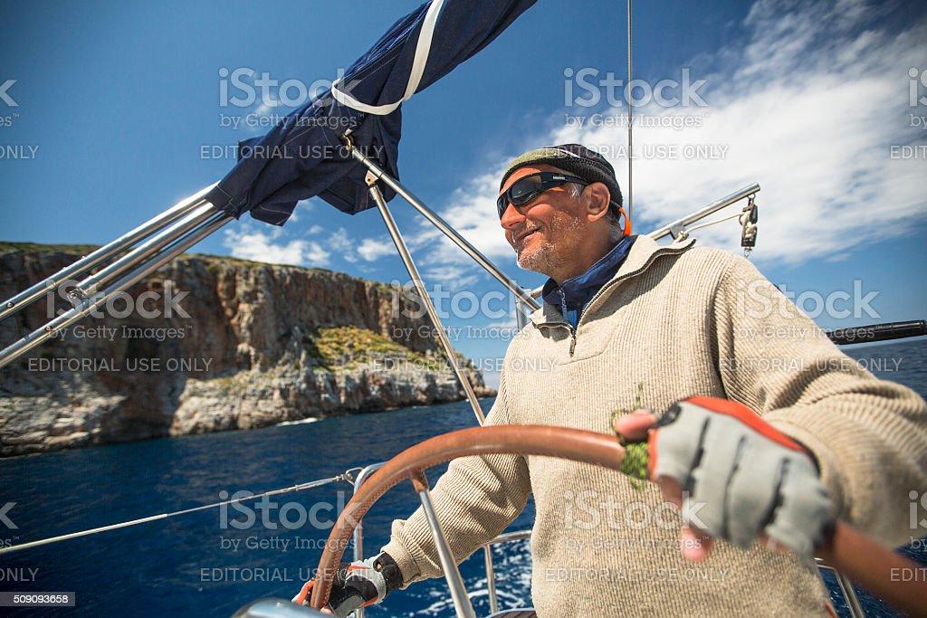 Sailboats participate in sailing regatta 11th Ellada stock photo