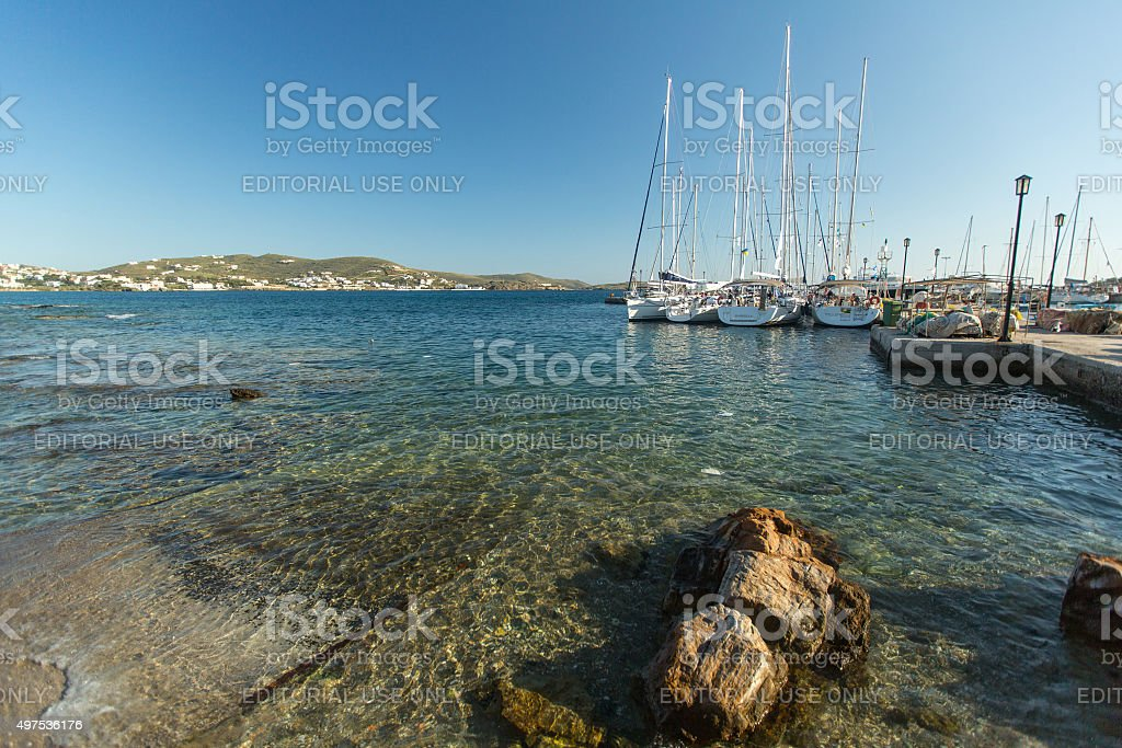 Sailboats participate in sailing regatta Ellada stock photo