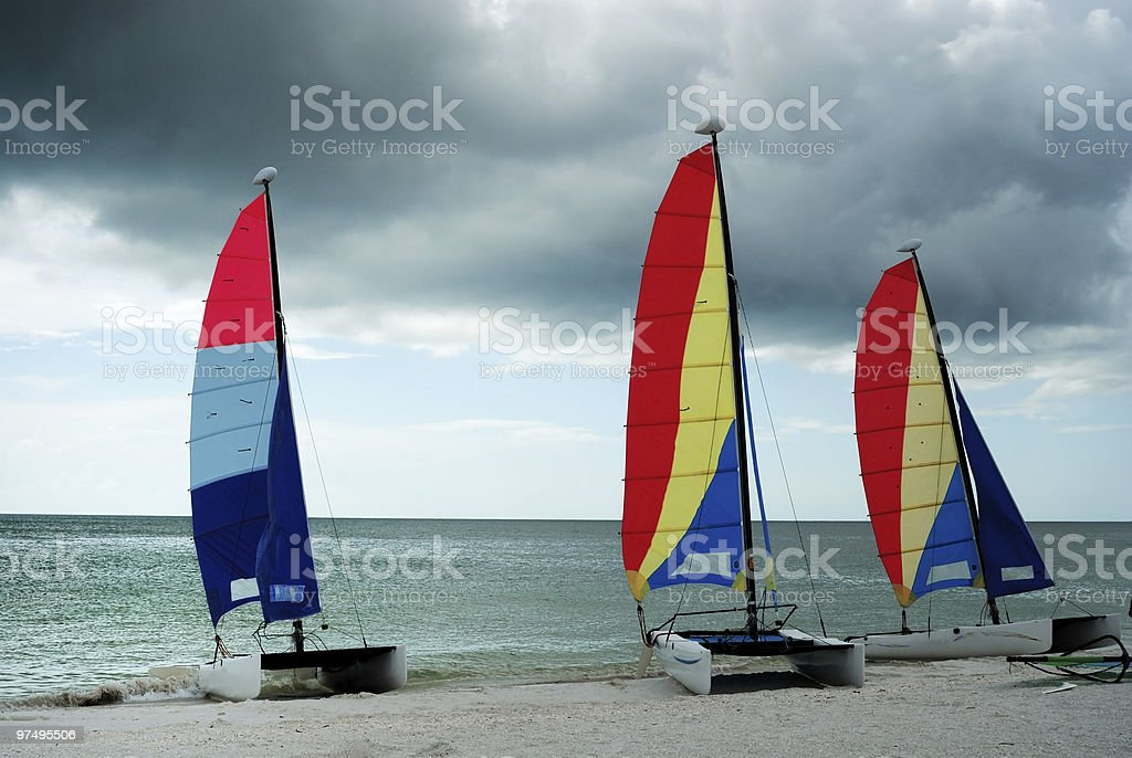 Sailboats with stormy sky royalty-free stock photo