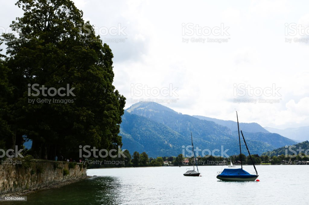 sailboots on tegernsee, bavaria stock photo