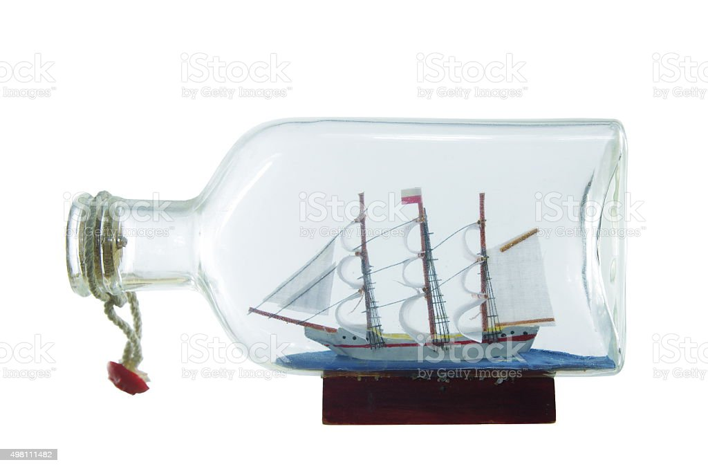sailcloth ship in bottle stock photo