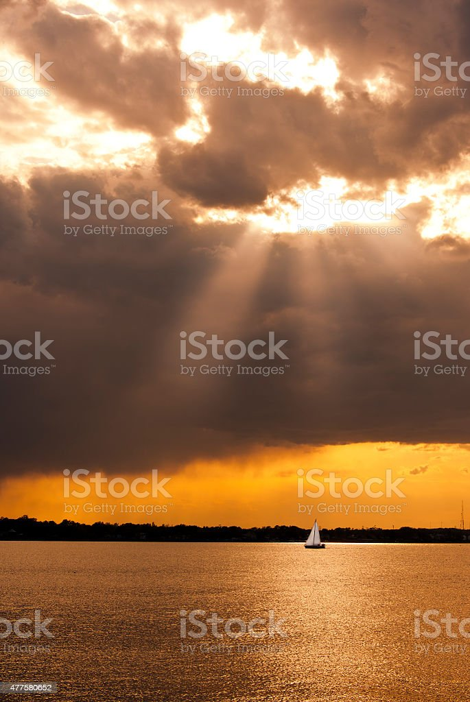 Sailing a Stormy Chesapeake stock photo