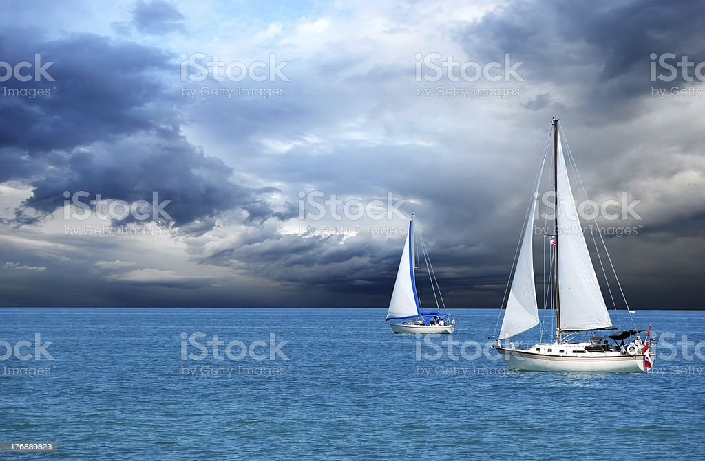 sailing after a storm stock photo