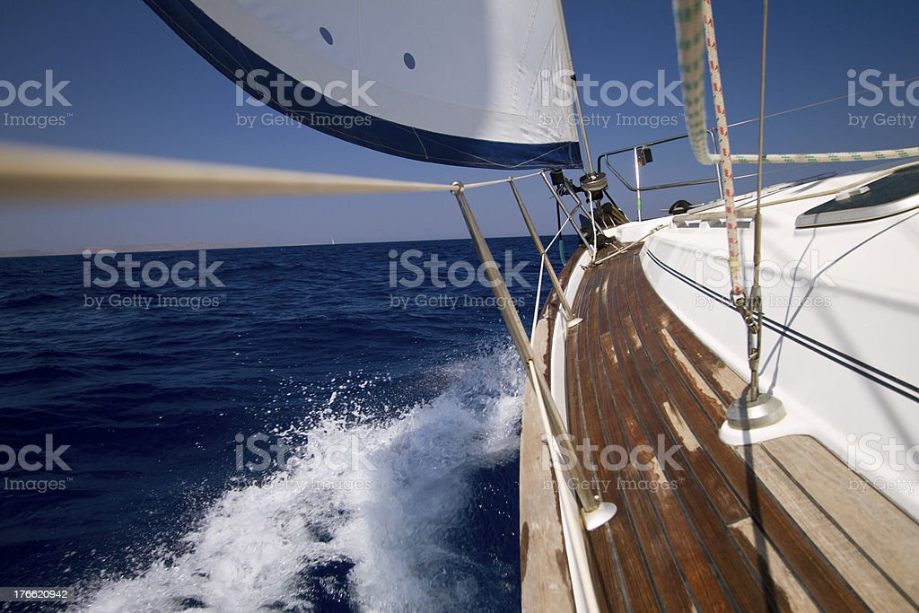 Sailing against strong wind royalty-free stock photo