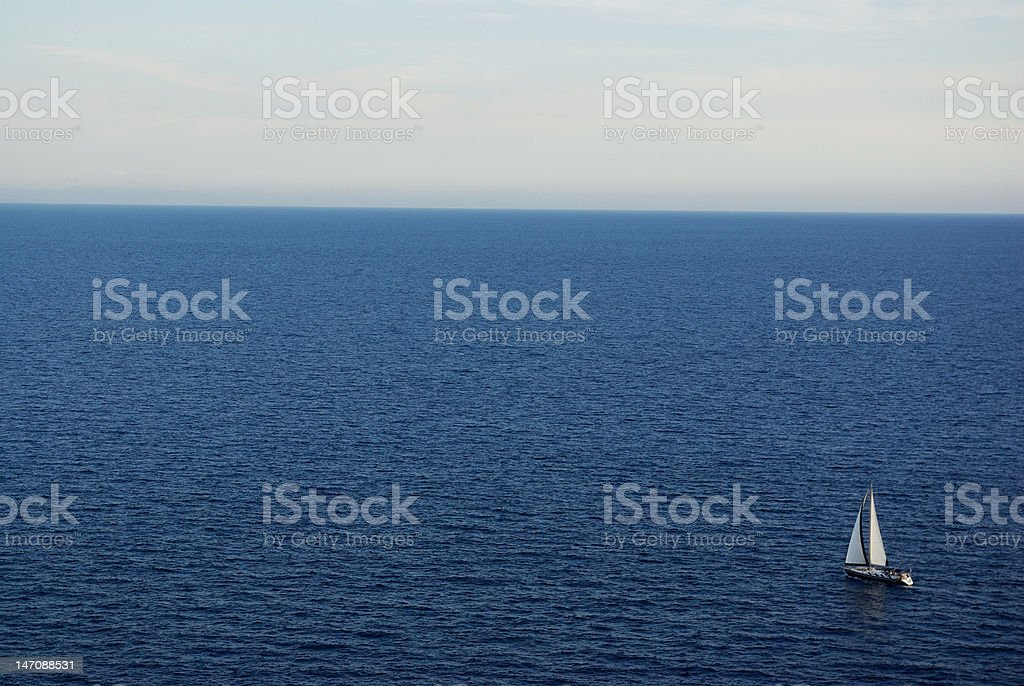 Sailing alone royalty-free stock photo