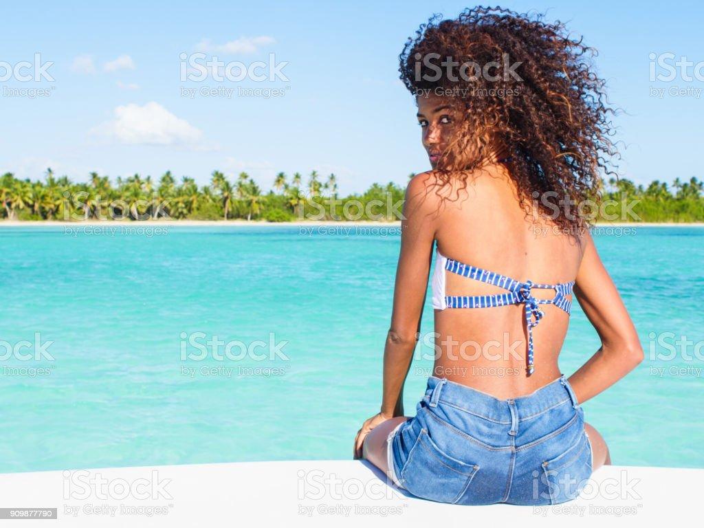 Sailing along the Caribbean sea stock photo