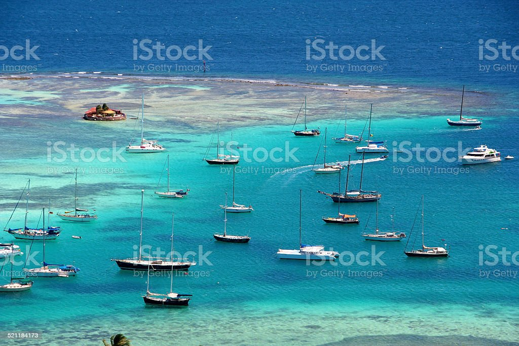 Sailing around Union Island, St. Vincent and the Grenadines stock photo